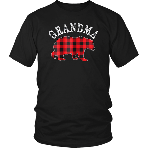 Red Plaid Grandma Bear Buffalo Matching Family Pajama TShirt