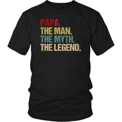 Mens Papa Man Myth Legend T Shirt Cool Gift Father Dad Tees