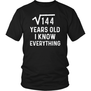 Square Root 12th Birthday Gift 12 Years Old Math Tshirt