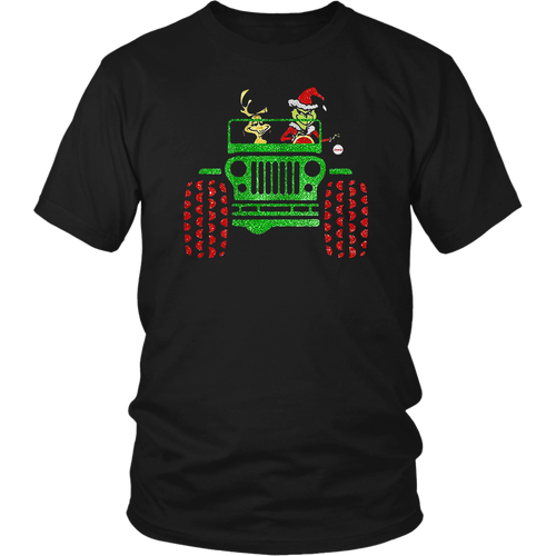 Grinch and Max Dog Driving Jeep Christmas T-Shirt