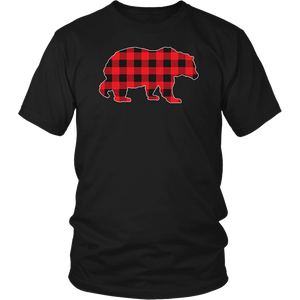 Red Plaid Bear Buffalo Matching Family Pajama T-Shirt