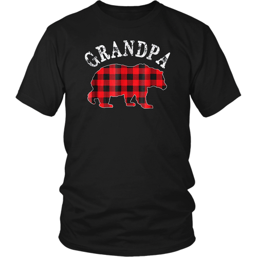 Red Plaid Grandpa Bear Matching Buffalo Family Pajama TShirt