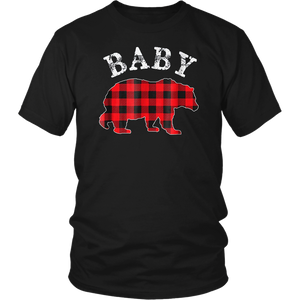 Red Plaid Baby Bear Buffalo Matching Family Pajama T-Shirt