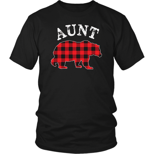Red Plaid Aunt Bear Buffalo Matching Family Pajama T-Shirt