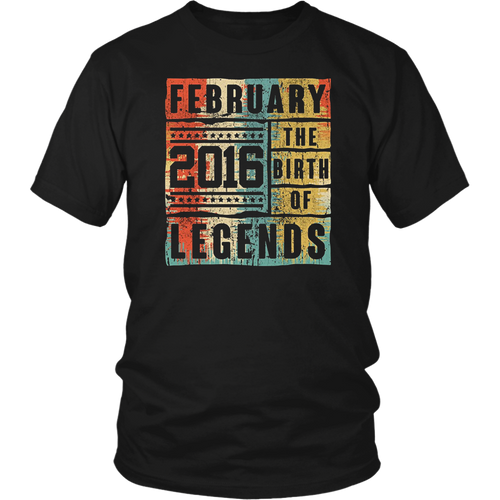 Retro The Birth Legend February 2016 2nd Birthday Gifts T Shirt