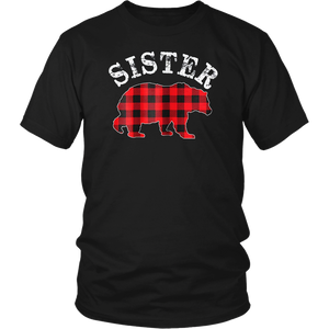 Red Plaid Sister Bear Matching Buffalo Family Pajama T-Shirt