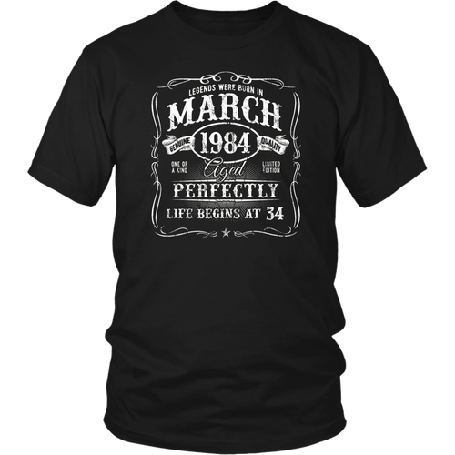 Legends Were Born In March 1984 T-Shirt 34th Birthday Gift