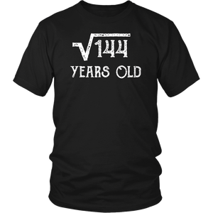 Funny 12th Birthday Shirt Square Root of 144 for 12 yrs old