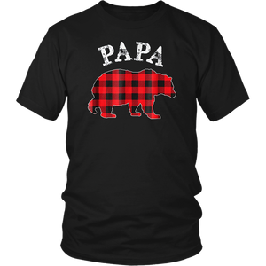 Red Plaid Papa Bear Buffalo Matching Family Pajama T-Shirt