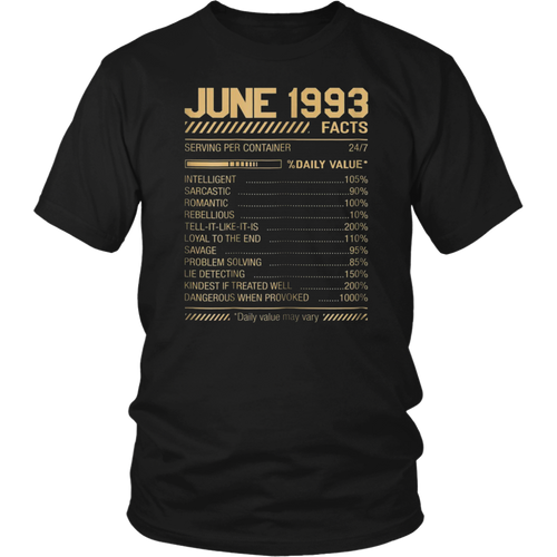 June 1993 Facts Shirt Funny Facts Shirt