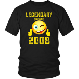 Emoji Shirt Legendary Since 2008 10th Years Old 10 Birthday