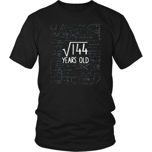 Twelve Years Old Shirt 12th Party 12 Twelfth Square Root 144