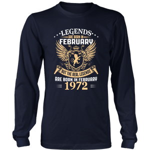 Legends Are Born In February 1972 T-Shirt