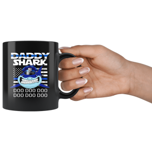 Police Daddy Shark Blue Line Mugs