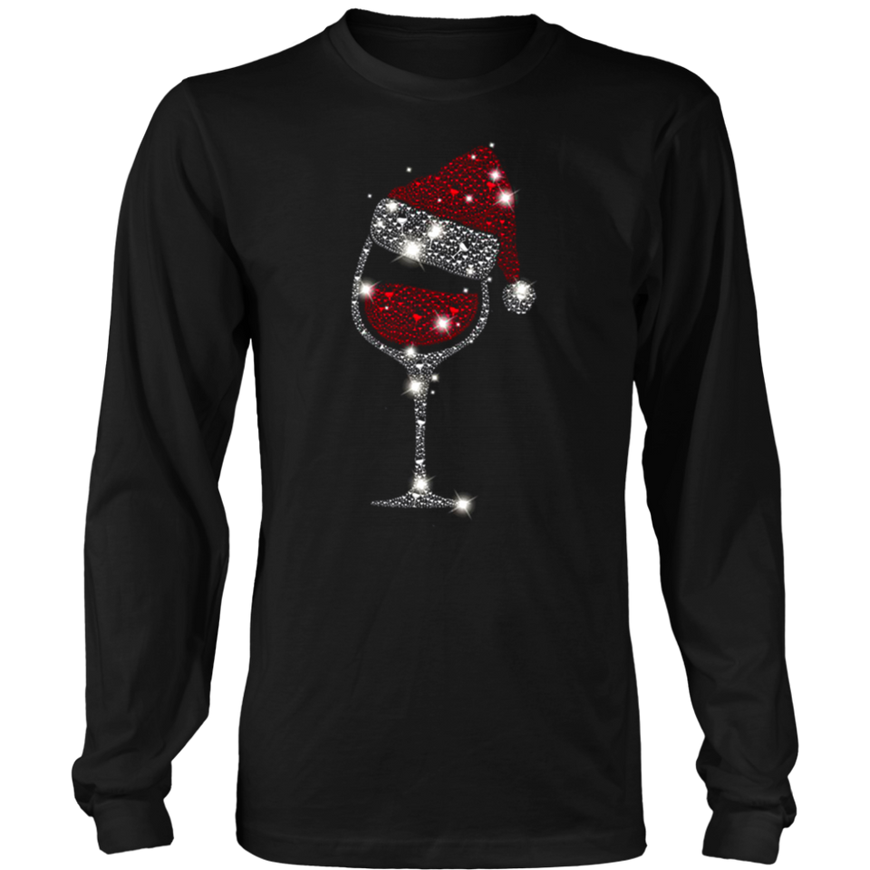 Wine Glass Christmas Hat T-Shirt