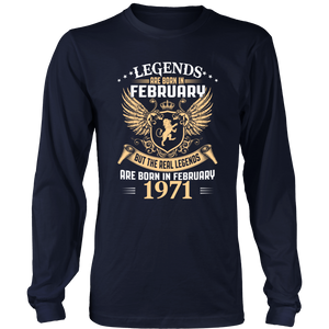 Legends Are Born In February 1971 T-Shirt