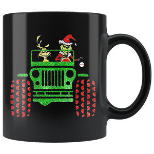 Grinch and max Dog Driving Jeep Christmas Mugs
