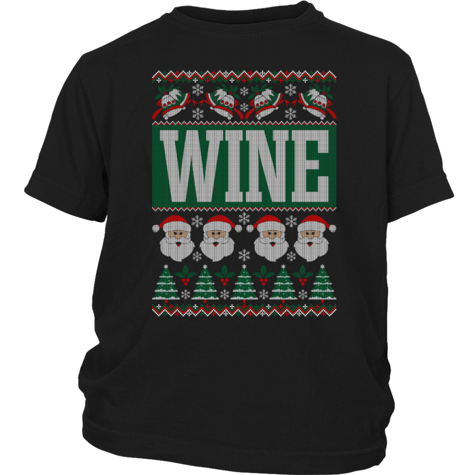 wine ugly christmas sweater t shirt