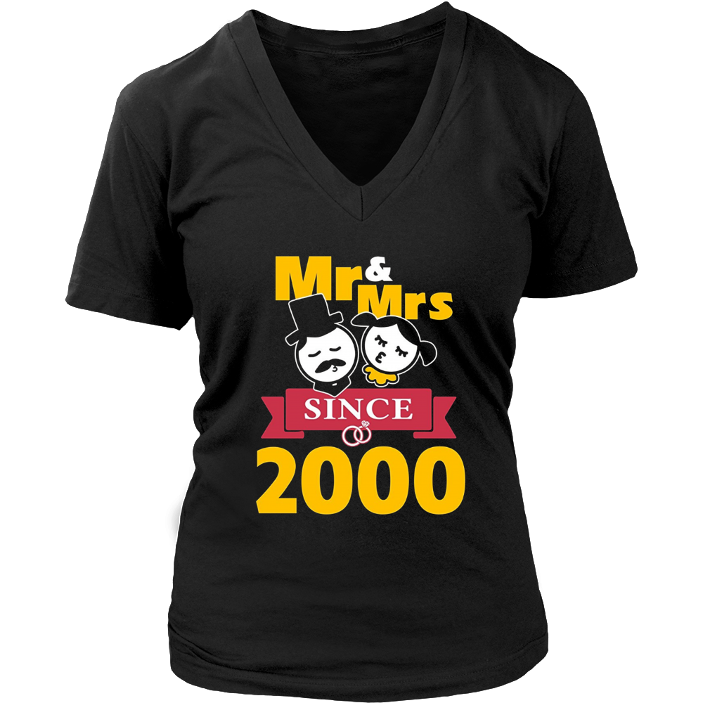 17th Wedding Anniversary T-Shirt Mr & Mrs Since 2000 Gift