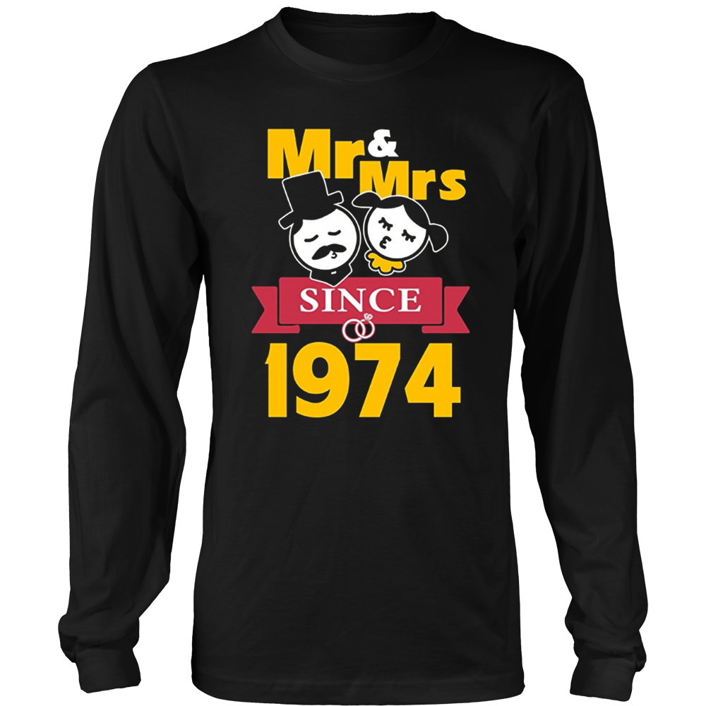 43th Wedding Anniversary T-Shirt Mr & Mrs Since 1974 Gift