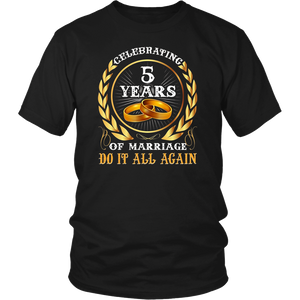 5th Wedding Anniversary T-Shirt 5 years Celebrating Marriage