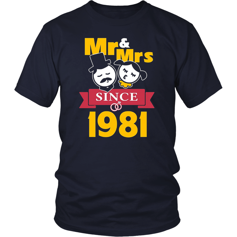 36th Wedding Anniversary T-Shirt Mr & Mrs Since 1981 Gift