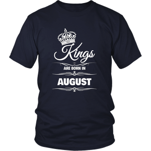 MEN'S KINGS ARE BORN IN AUGUST BIRTHDAY NOVELTY T-SHIRT