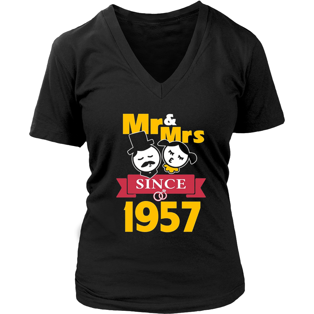 60th Wedding Anniversary T-Shirt Mr & Mrs Since 1957 Gift