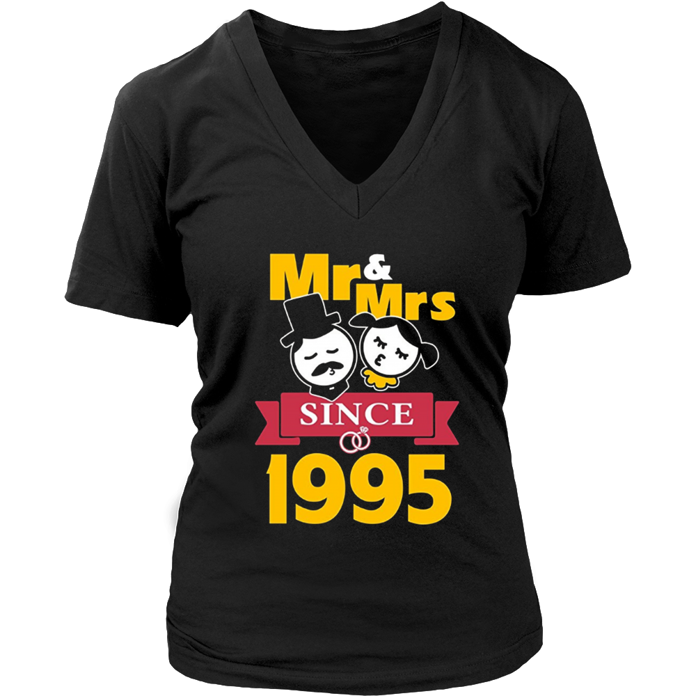 22th Wedding Anniversary T-Shirt Mr & Mrs Since 1995 Gift