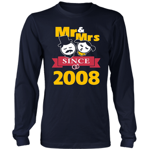 9th Wedding Anniversary T-Shirt Mr & Mrs Since 2008 Gift