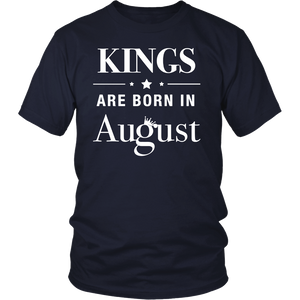 Mens Men's Kings Are Born In August - Birthday T-Shirt