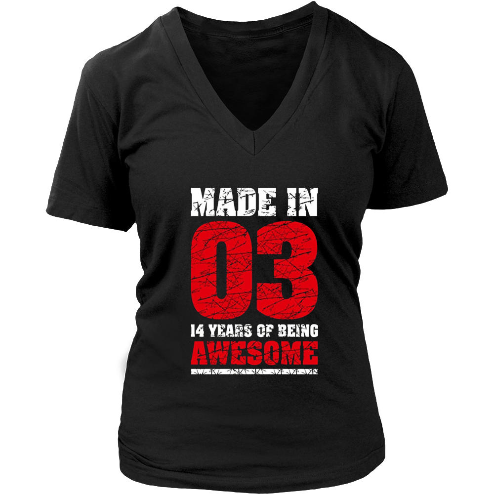 14th Birthday Gift Tee Shirt Made In 03 cute 14 yrs old gift