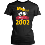 15th Wedding Anniversary T-Shirt Mr & Mrs Since 2002 Gift