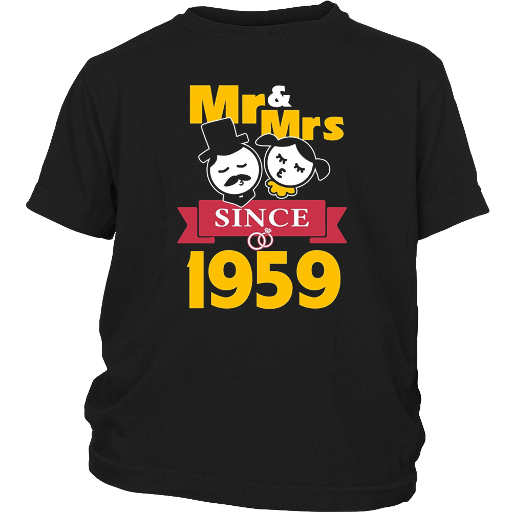 58th Wedding Anniversary T-Shirt Mr & Mrs Since 1959 Gift