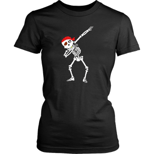 Funny Pirate Dabbing Skeleton Halloween Shirt Dab Dance Tee