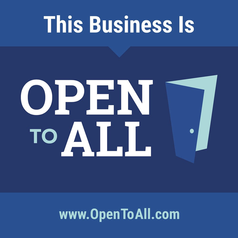 This business is open to all. An advocacy for civil rights equality in commerce.