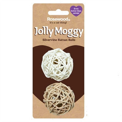 Jolly Moggy Silvervine Rattan Balls – 2 Pack