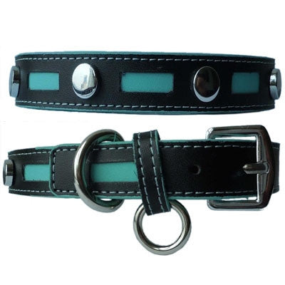 Inlaid Leather Collars with Metal Studs