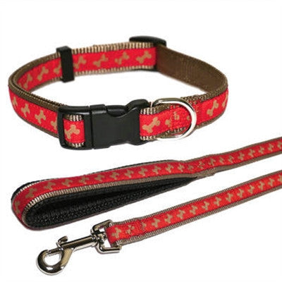 Wag 'n' Red & Beige Bone Collar Collection