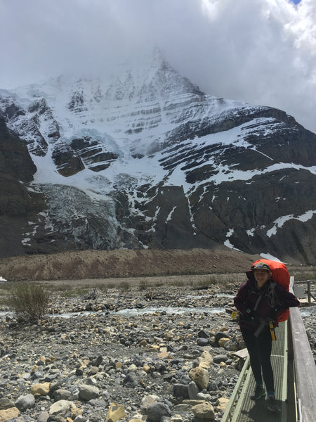 Bekka in front of Mount Robson, British Columbia.