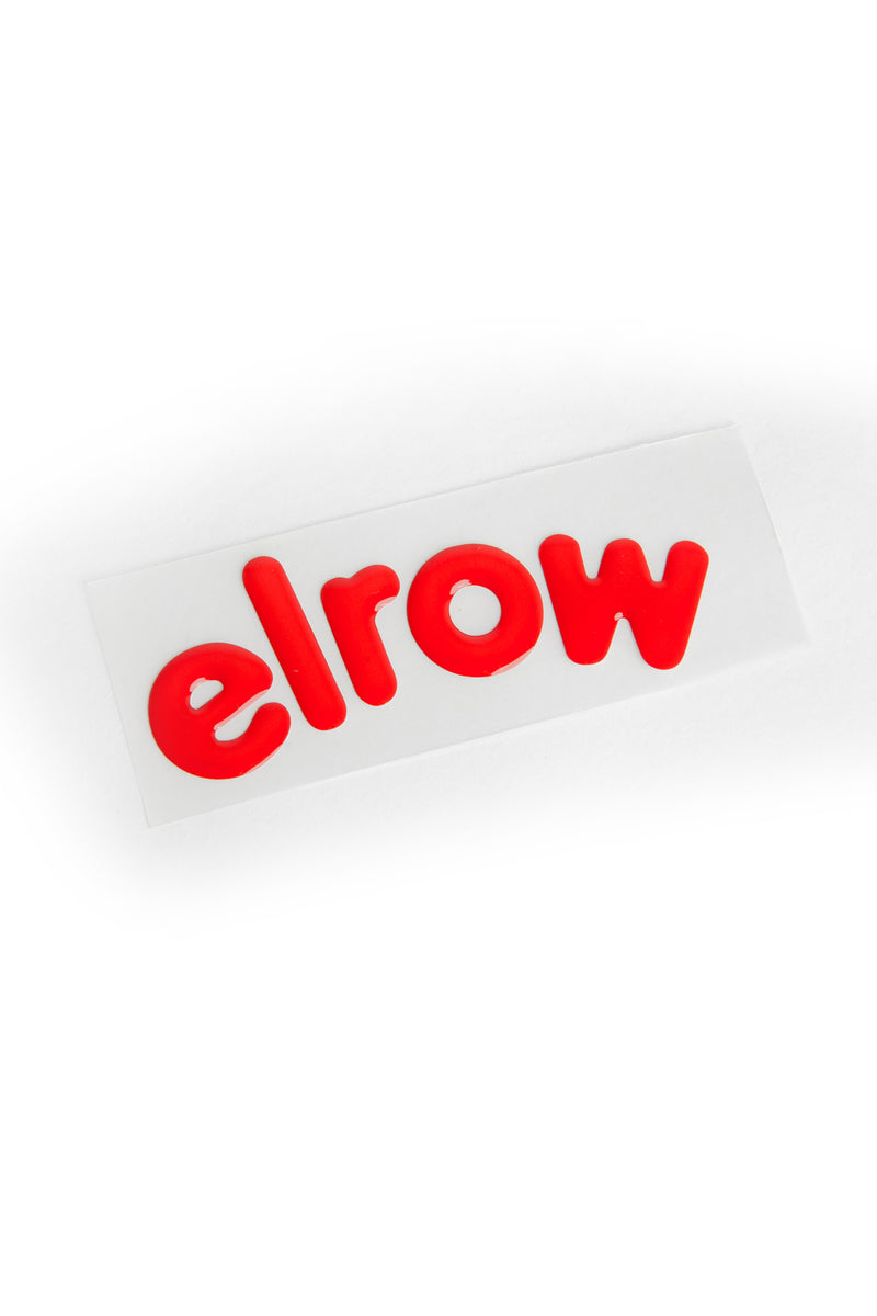 elrow red letters sticker resin