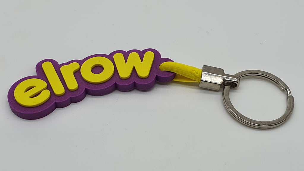 elrow purple and yellow keyring