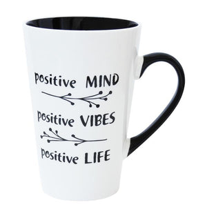 Big Mug Black White Quotes Positive Mind Positive Vibes