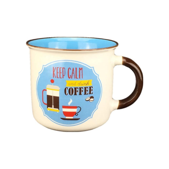 Retro mug - blue/coffee
