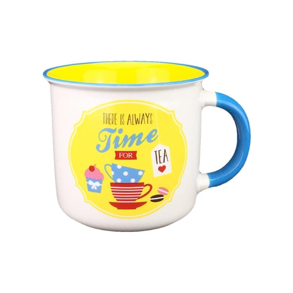 Retro mug - yellow/tea