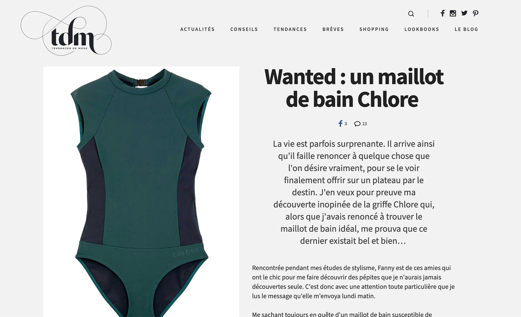 Tendance de Mode - Chlore Swimwear Sept 2020