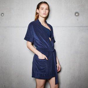 chlore swimwear ami deep blue woman robe