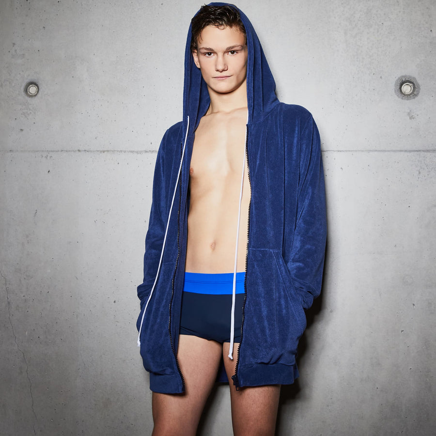 Chlore Swimwear Franck Sweat Zippé Capuche Bleu Piscine