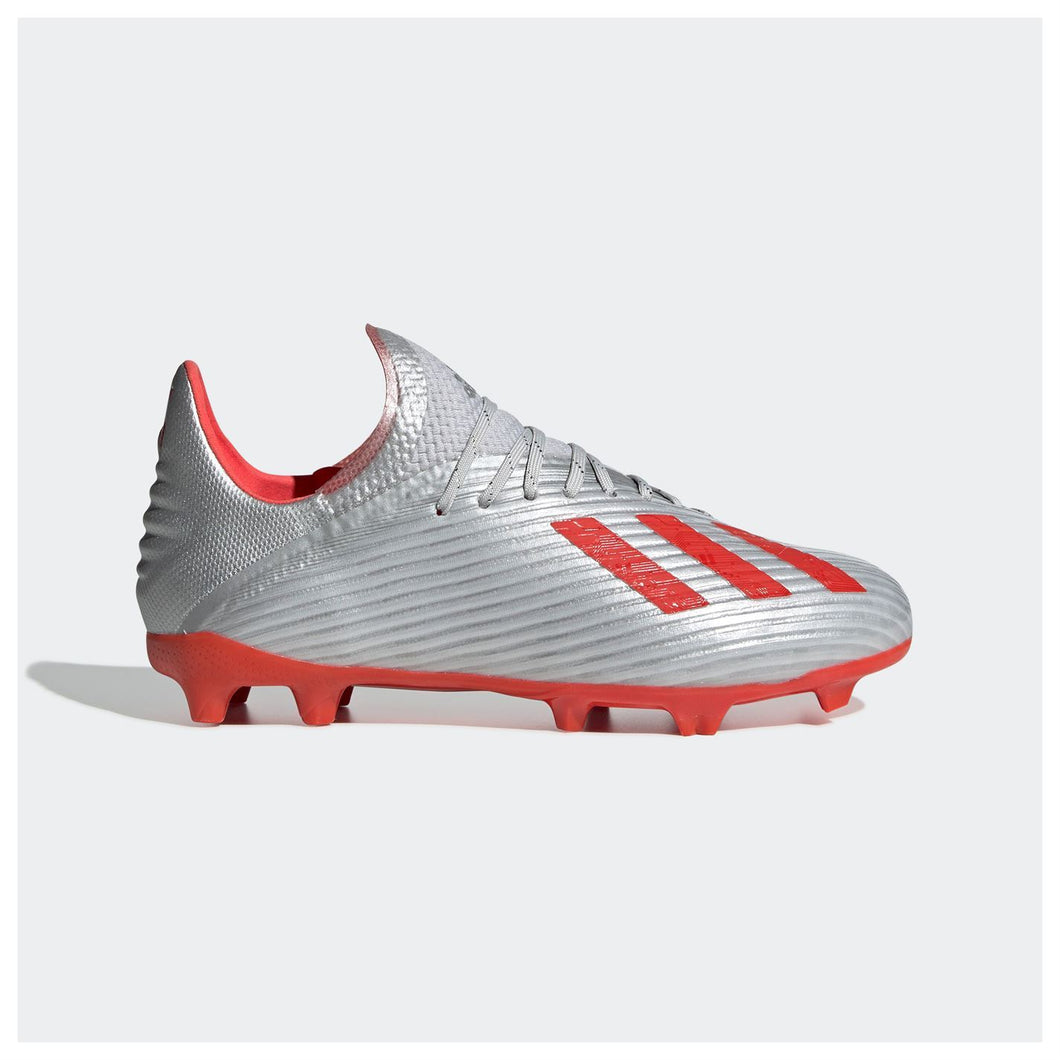 adidas X 19.1 Firm Ground Football Boots Juniors Silver/Red
