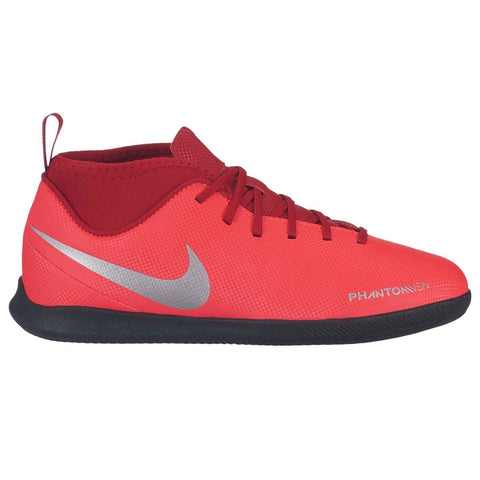 Nike Phantom Vision Club DF Indoor Football Boots Junior Boys Red/Silver